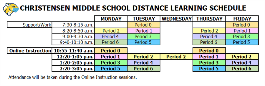 CMS Distance Learning Schedule