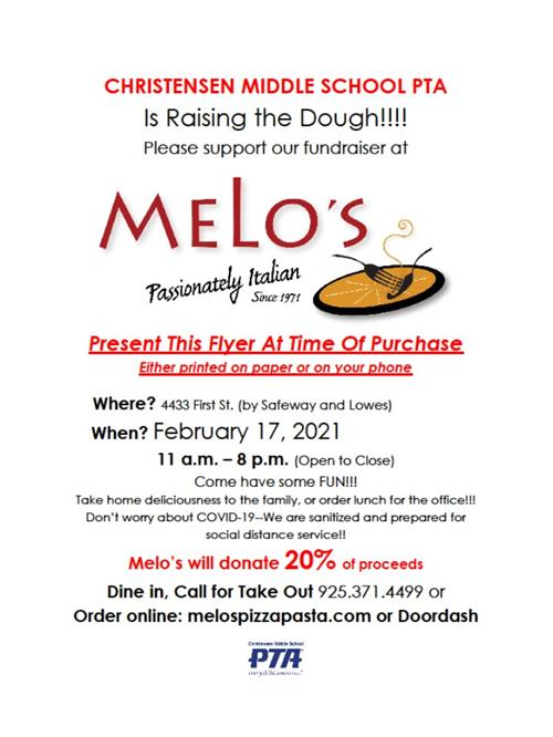 CMS PTA Melo's Pizza Fundraiser Flyer 210217