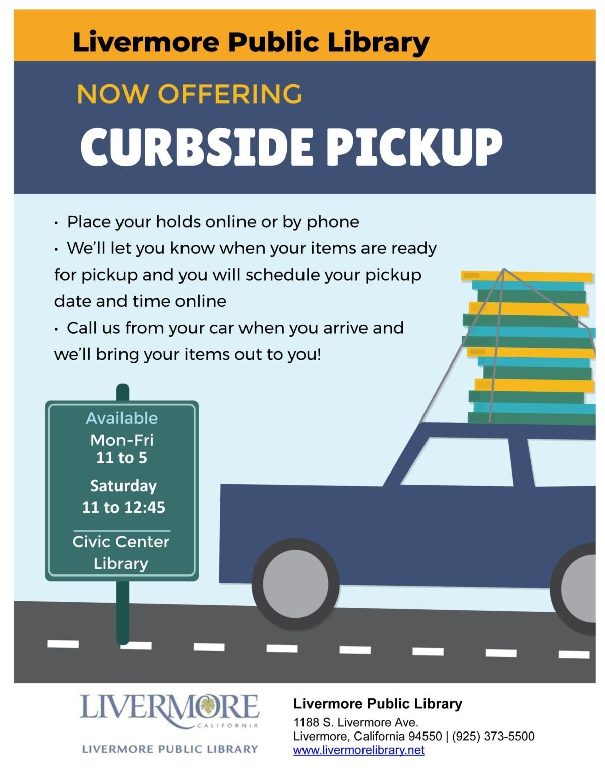 Livermore Library Curbside Pickup Flyer