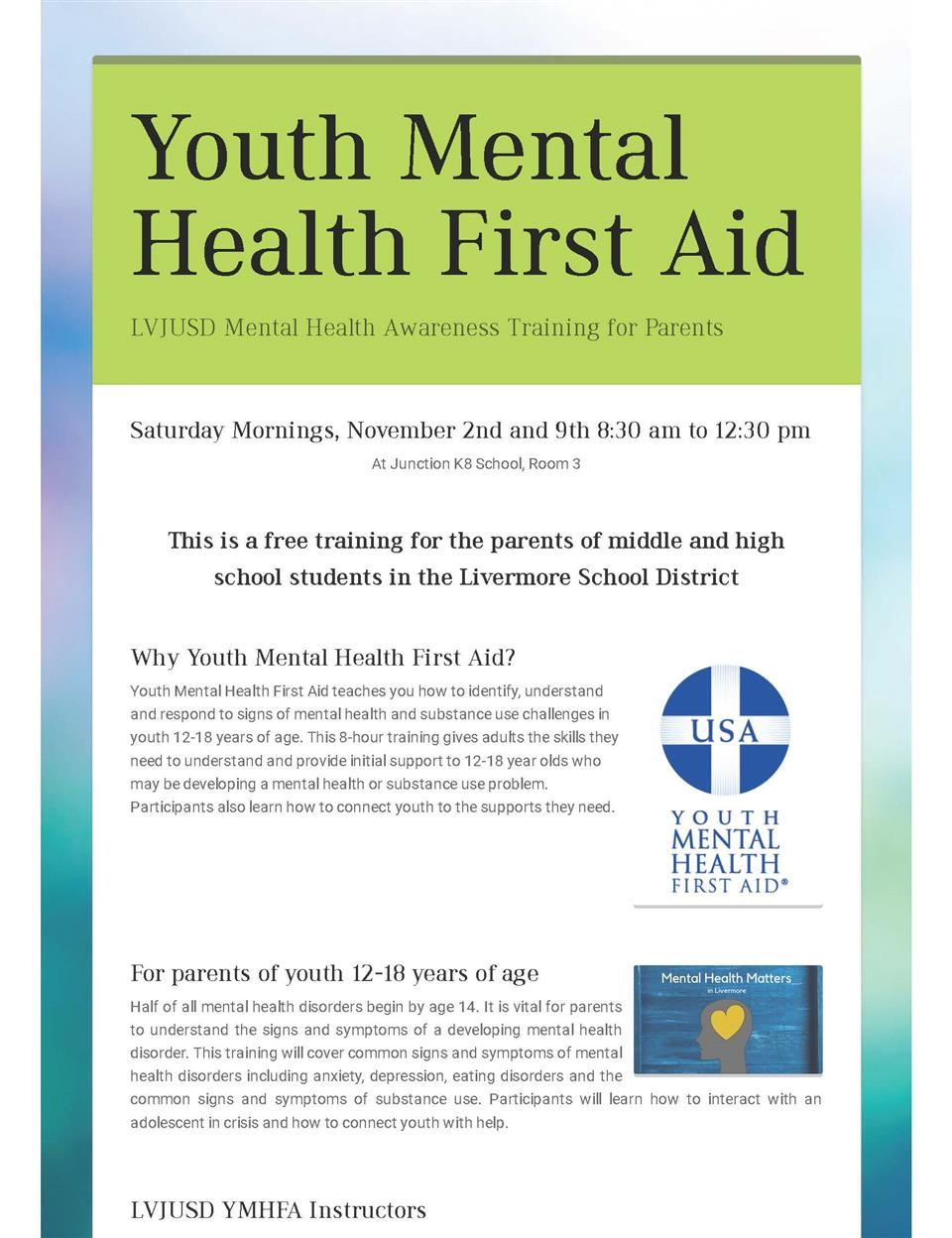 Youth Mental Health First Aid page 1 of 2