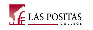 Las Positas College Logo. Red stylized building next to college name.