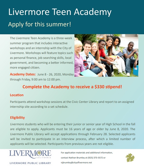 Livermore Teen Academy Recruitment 2020