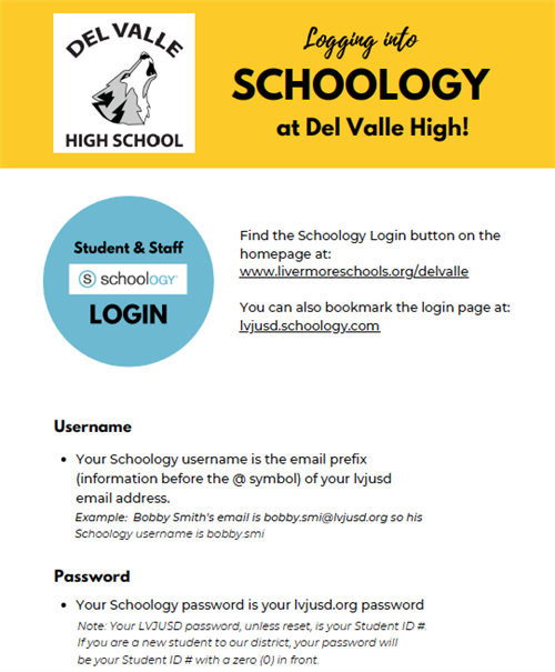 Del Valle Schoology Login info
