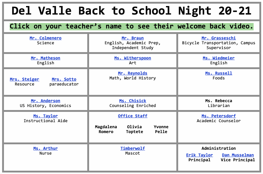 Click here for Del Valle's Virtual Back to School Night