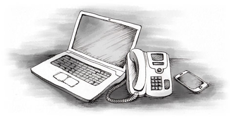 image of laptop, phone and cell phone