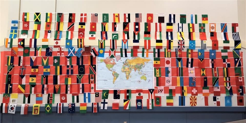 flags from different countries surrounding a map of the world