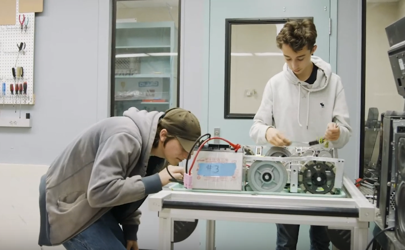 Students in robotics lab