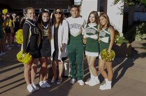 Superintendent Kelly Bowers with cheerleaders