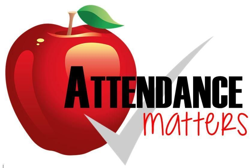 a picture of an apple and the wording attendance matters