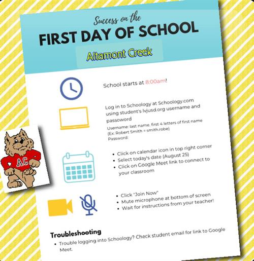 First Day of School - Logging In & Tech Tips